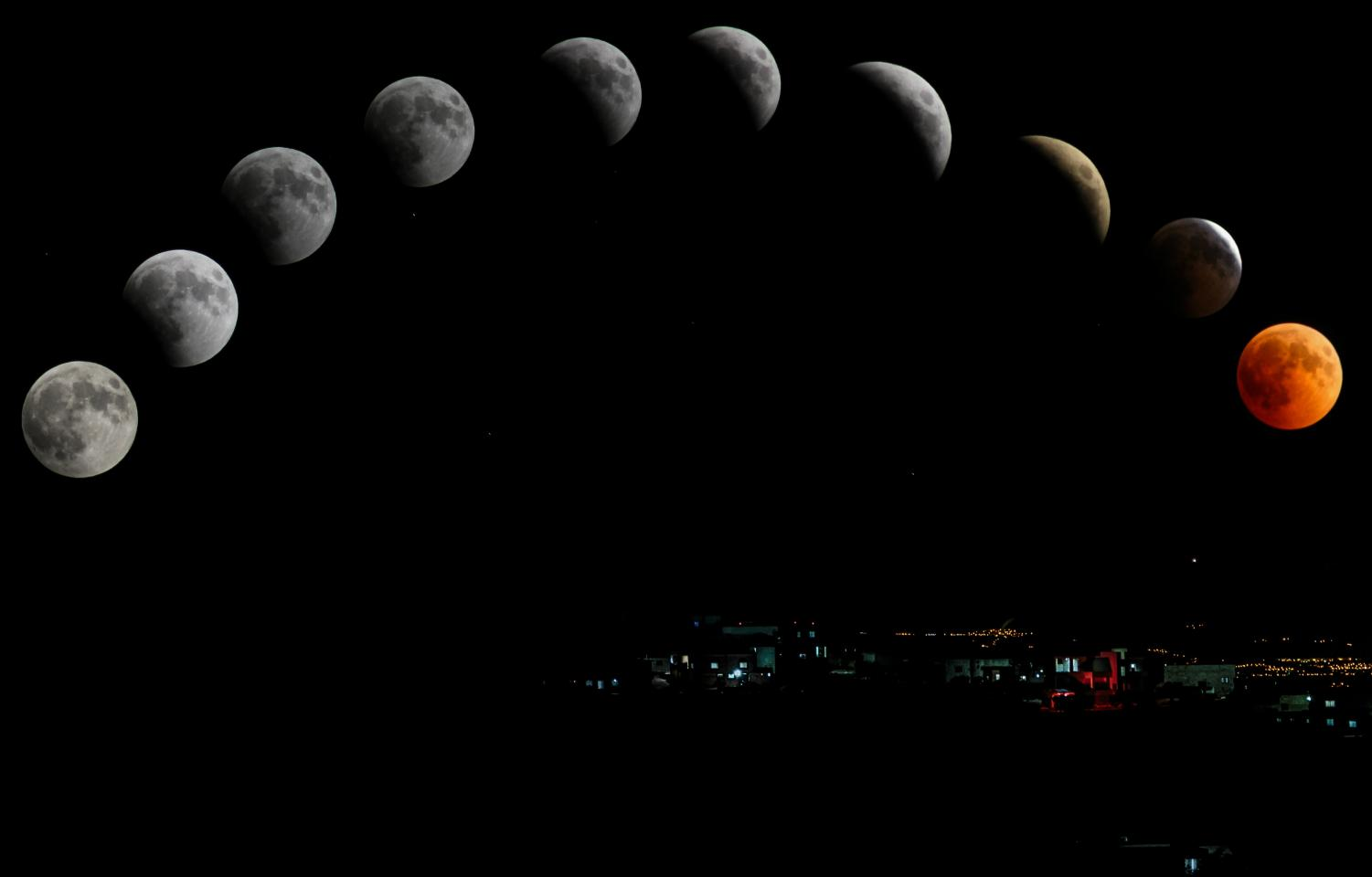 Phases of the moon as it transitions into a total lunar eclipse.